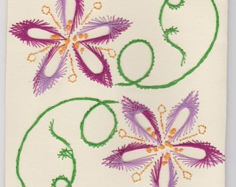 Hand Embroidered Flower Notecard Set