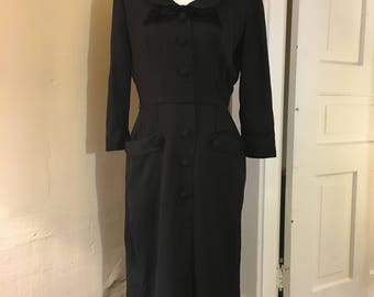 1940s Black Dress - WWII Era Dress