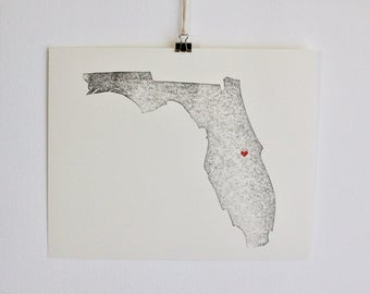 "Florida State Map Print / 8"" x 10"" / Unframed / Custom / Travel / Art / Chic / Modern / Rustic / Heart / Love / Home / Wedding / Gift"