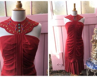 Vintage Red Egyptian 1980s Sancha California Gown