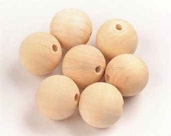 10 or 100 Wood Beads - Choose Diameter 8/10/12/15/18/20/25/30mm