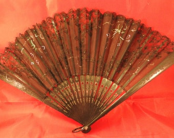 Antique black lace sequined fan with engraved end sticks