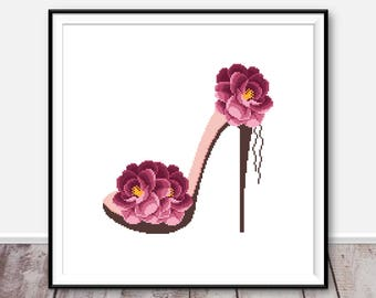 Flowers cross stitch pattern PDF Shoe girl cross stitch counted cross stitch chart Flowers embroidery rose Xstitch Easy Funny cross stitch