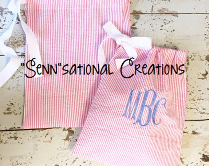 Travel Bags, Ditty Bags, Seersucker Bag, Seersucker Travel, Travel Organizer, Drawstring Bag, Monogrammed Bag, Monogrammed Travel Bag