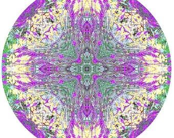 Meditation Art, Mandala Art Print, Zen Art, Flower Mandala, Circle Print, Nature Photography, Purple Green Decor, Peaceful Art