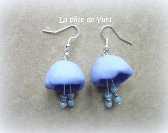 Earrings lilac handmade polymer clay