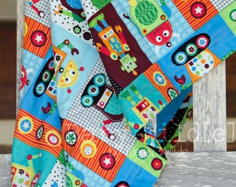 "Minky Baby Blanket Robot Boy Robots Orange Blue Green - 30""x42"" - Name Included - Nuts and Bolts"