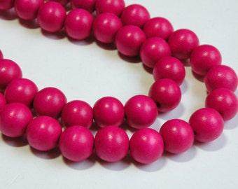 Hot Pink Fuchsia wood beads round 12mm full strand eco-friendly Cheesewood 9495NB