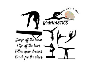 Gymnastics quote svg cut file, gymnast silhouette collection bundle for Silhouette, Cricut for t-shirt DIY motivational svg gymnastics svg