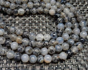 Grey Black Agate Rounded Beads - 8mm Tube Beads-- 1 STRAND - (S106B9-03)
