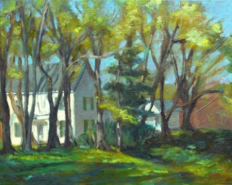 Farmhouse In the Trees, original, oil, painting, 18 x 24, plein air, plain air, country scene, spring, Kit Miracle, landscape, impressionist