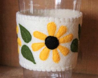 Felt Cup Sleeve - Yellow Daisies