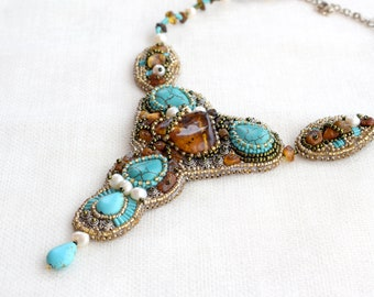 Bead embroidery Beadwork necklace, Natural Baltic amber turquoise necklace, freshwater pearls, blue brown orange necklace, one of the kind