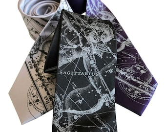 Sagittarius Celestial Necktie Zodiac Constellation Horoscope Tie. November or December birthday gift.  Star Chart men's tie Astrology gift