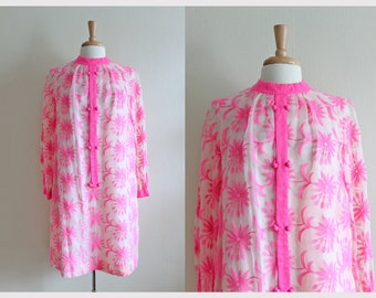 1960s Dress / Vintage Neon Pink Floral Needlework Overlay Dress
