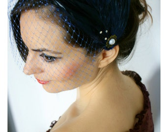 Deco Flapper Feather  birdcage veil Great Gatsby, feather headpiece ,blue feathers, feather pad, ballerina hairpiece, vintage inspired