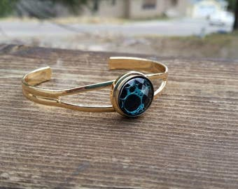 Blue and Gold Snap Bracelet Bangle - Gifts for Her - Womens Fashion Jewelry Accessories