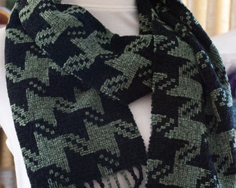 Handwoven Rayon Chenille Houndstooth Scarf
