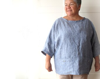 Woman linen tunic, woman linen oversized top, Mother's day, linen clothing, linen long shirt, plus size clothing, made to measure, summer