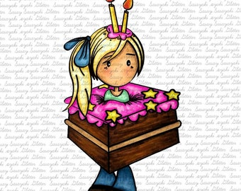 IMAGE #158 -MIA WANTs To SAy HAPpY BIRTHDAY Digital Stamp by Sasayaki Glitter - Naz - both lineart and coloured versions