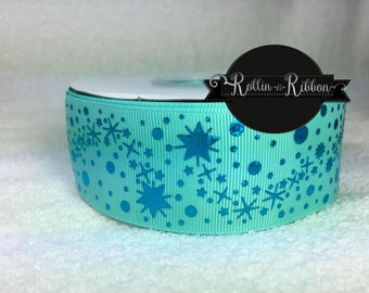 Stardust Turquoise Foil 1.5 on Aqua Grosgrain Ribbon