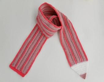 Crochet / Pink Color Pencil Scarf