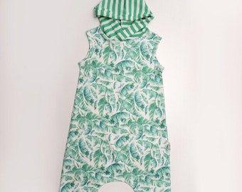 Infant or toddler palm leaves hooded Organic Cotton knit Tank Shorty Romper