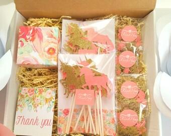 Unicorn Birthday Party Gift Box Set, Unicorn Party, Unicorn Party Kit,Dessert Table, Unicorn Party Essentials
