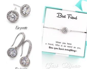 Wedding Earrings Bracelet Platinum plated Zirconia Earrings Bridal Bracelet Bridesmaid Bridal Earrings Bridesmaid Bracelet Bridesmaid Gift