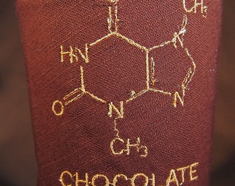 Embroidered Chocolate Molecule Coffee or Beverage Cozy
