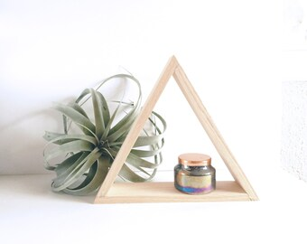Painted Wood Triangle Open Shelf, Geometric Shelving, Wall Decor, Housewarming Gift Idea, Holiday Gift, Candle Display, Air Plant Display