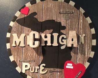 custom state art, Michigan art, Michigan sign, Michigan gift, customized state signs, I love Michigan, any state, Pure Michigan, rustic sign