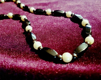 Hematite Necklace - hematite hematiet gemstone necklace  gothic spiritual goth