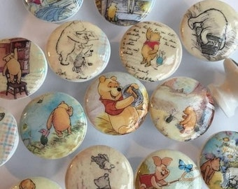 15OFF SALE dresser drawer knobs pulls wood knobs decorated with Winnie Pooh and friends images 1 1/2 inch set of 8 decoupaged