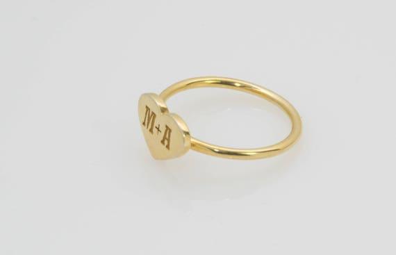 Letter A ring CUSTOM Letter Ring 14k Gold Stack Ring Heart