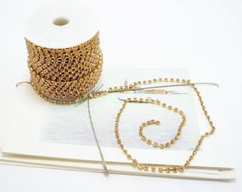 Gold Rhinestone Chain, Peach Crystal, (3mm / 1 Yard Qty)