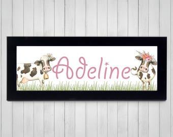 Cows Nursery Wall Art - Farm Animals Nursery Wall Art - Barnyard Nursery Wall Art - FRAMED Nursery Art - Watercolor Cow Print - Cow Room