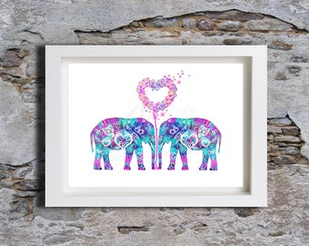Aztec Elephants Watercolour, Wall Art, Wall decor, Watercolor, Art Print