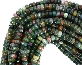 """8mm faceted indian agate rondelle beads 15"""" strand 39285"""