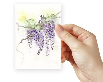 Cottage art of a Wisteria plant. Small prints of purple flowers to test the color match with your home decor.