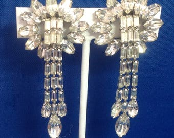 Vintage WEISS Clear Rhinestone Long Dangle Clip-On Earrings FREE SHIPPING