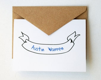 Personalized Stationery -- The Austin -- Banner -- Set of Cards & Envelopes- CHOOSE your QUANTITY