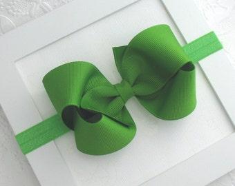 Baby Bow Headband, Apple Green Bow Headband, Baby Christmas Headband, 4 inch Boutique Bow Headband