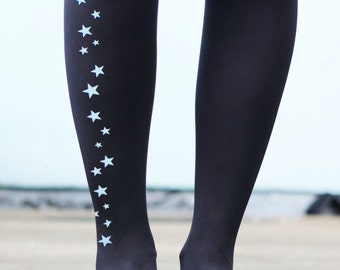 Star Tights - Gold or Silver Printed Stars