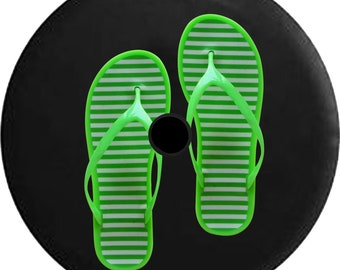 2018 JL Back Up Camera Spare Tire Cover Green Flipflop Sandals in the Beach - P320