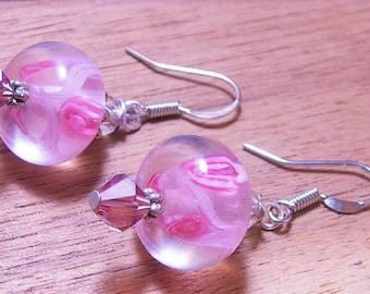 Rose Garden ,Lampwork Bead, Sterling Silver,Victorian Dangle, Earrings