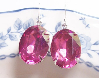 Rose Pink Estate Style Earrings - Sterling Silver Vintage Glass Bridal Bridesmaid - Gift Wedding Jewellery Jewelry Handmade For Women