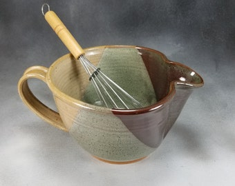 Pottery Batter Bowl Yellow Brown and Green  Medium Ceramic Batter Bowl With Whisk Hand Thrown Stoneware Pottery 1