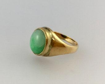 Green Jade 14k Yellow Gold Ring