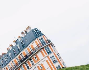 Paris, France, Architecture, sinking house, Montmartre, quirky, green, orange, negative space, Travel, Print, Photograph, Fine Art, Wall Art